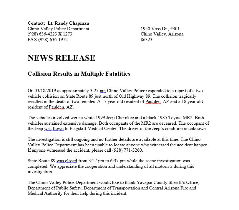 Media Releases | Chino Valley, AZ - Official Website